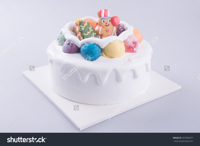 Cake Ice Cream Cake White Background Stock Photo 307485377.