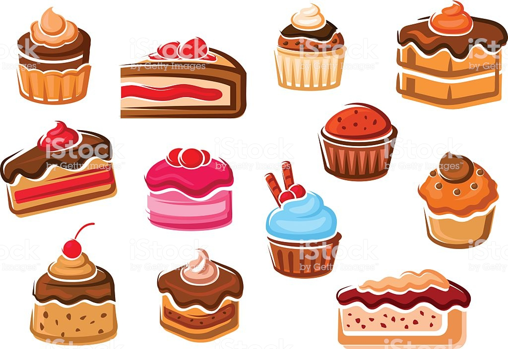 Cakes Cupcakes Pies Pudding And Desserts Stock Illustration.