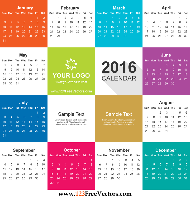 2016 Calendar Vector Free Download.