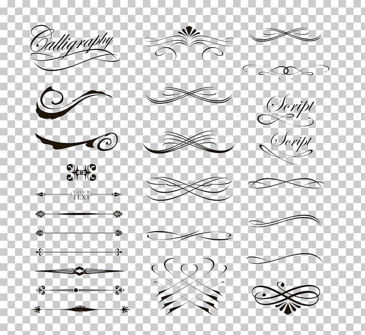 Calligraphy Drawing , Creative lines, calligraphy border.