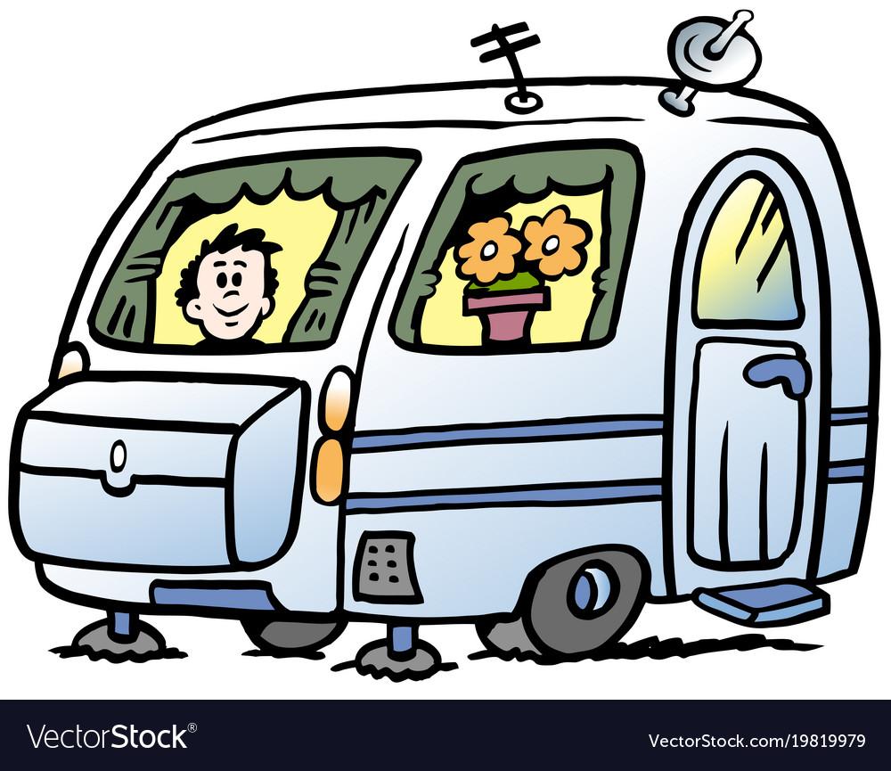 Cartoon of a boy in the caravan ready for the.