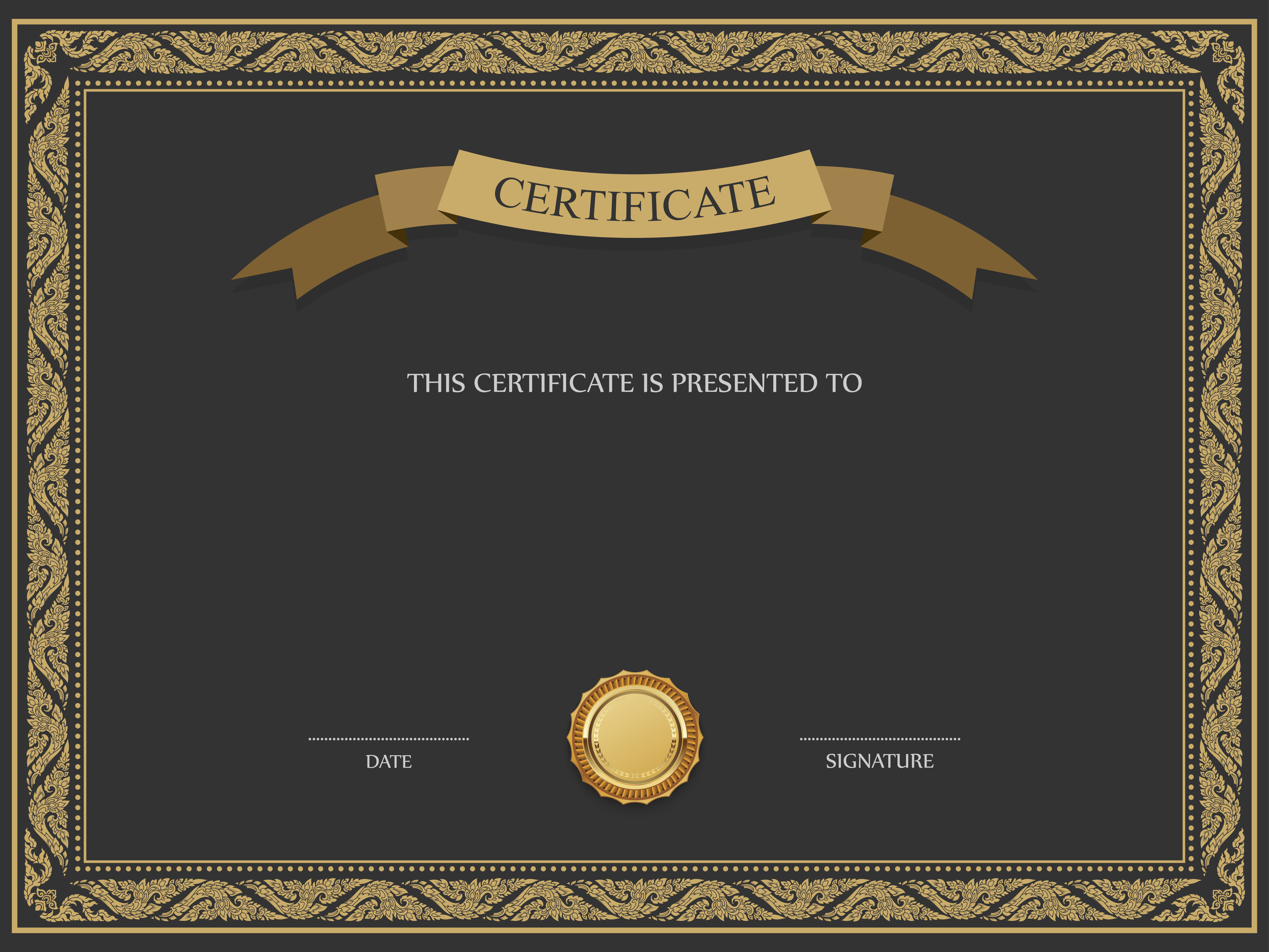 Black and Brown Certificate Template PNG Image.