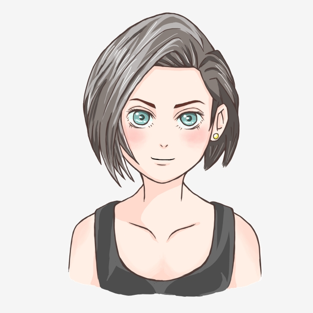 Fashion Girl Free Clipart, Beautiful Hairstyle, Cartoon Characters.