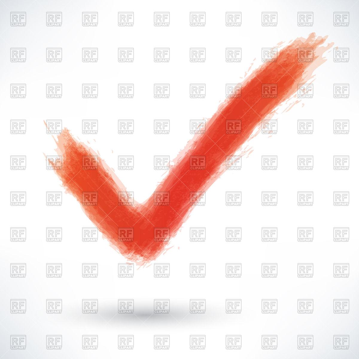 Red watercolour brushstroke check mark Stock Vector Image.