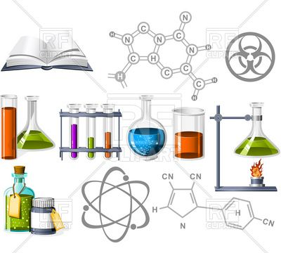 Science and Chemistry Icons Stock Vector Image.