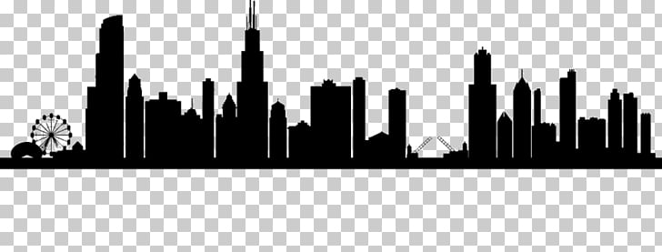 Chicago Skyline Drawing, Silhouette PNG clipart.