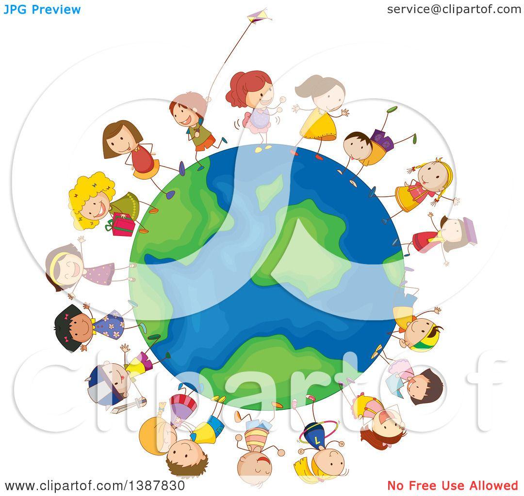 Clipart of Children All Around the Globe.