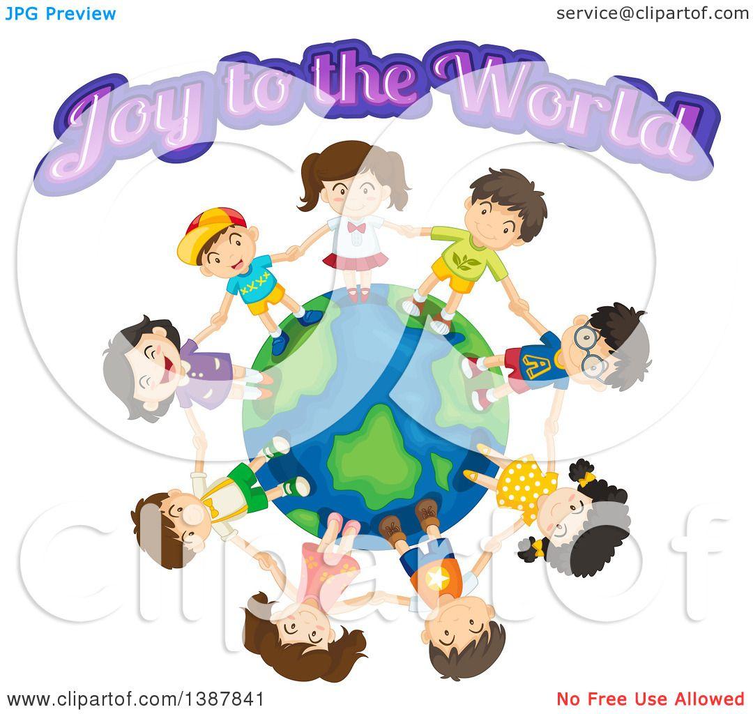 Clipart of Children Holding Hands Around the Globe Under Joy to.