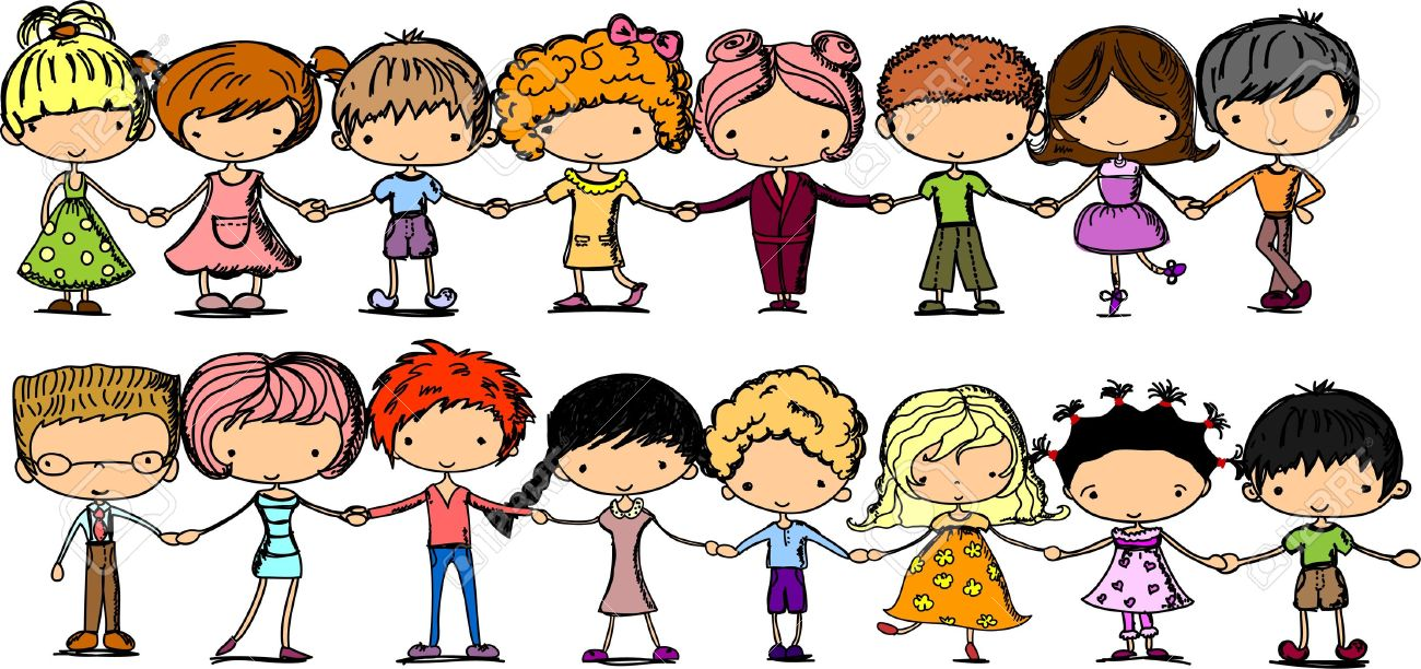 Cute Children Holding Hands Clipart.