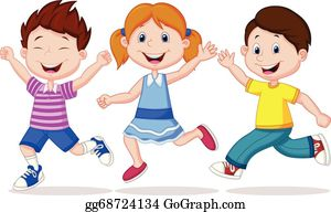 Children Running Clip Art.