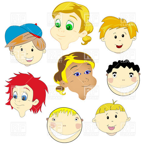 Children multicultural faces Stock Vector Image.