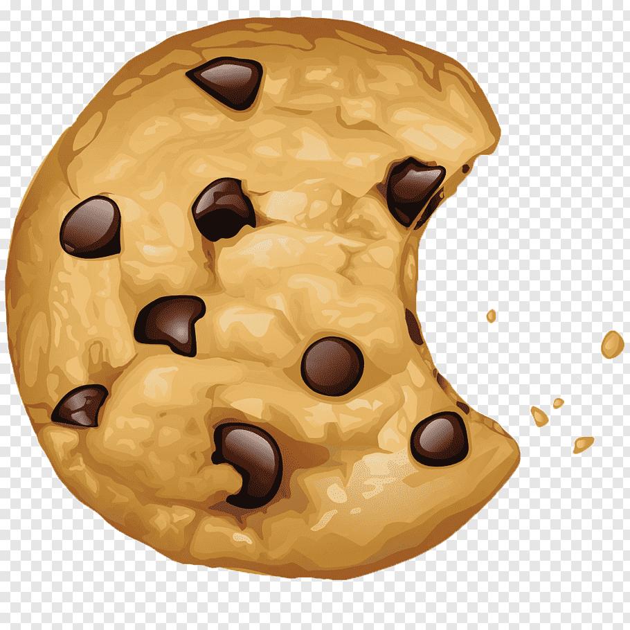 Bitten cookies illustration, Chocolate chip cookie Biscuits.