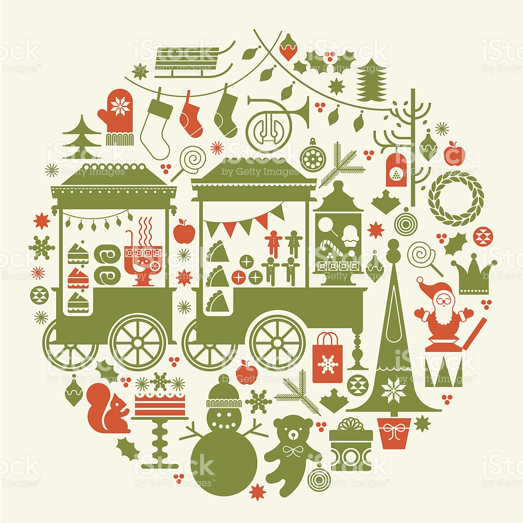 Christmas Market Stalls Clipart.