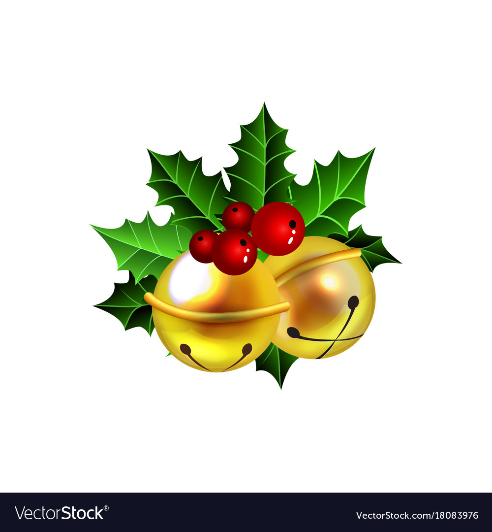 Two golden jingle bells with red ribbon.