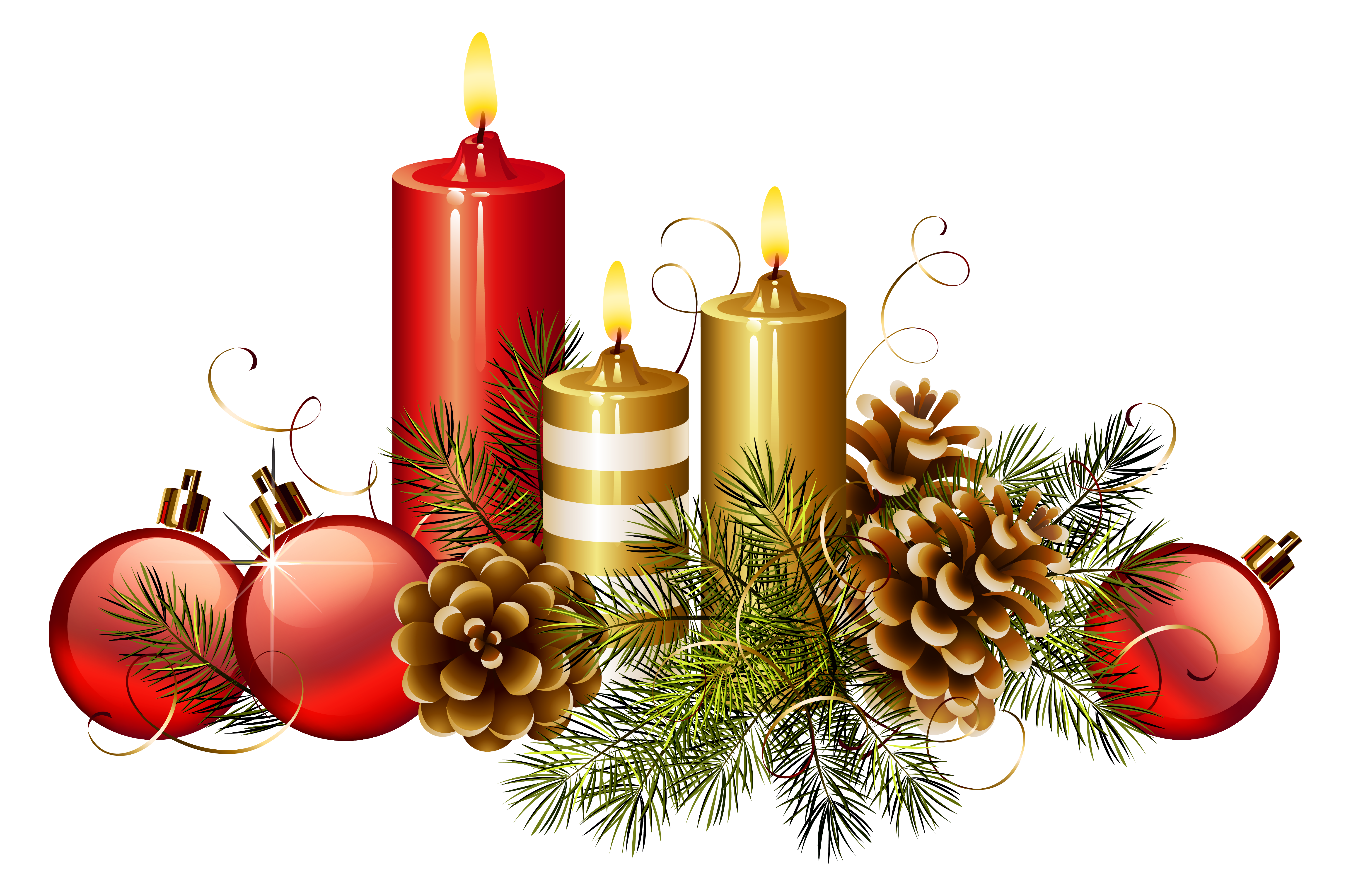Christmas Candles PNG Clipart Image.