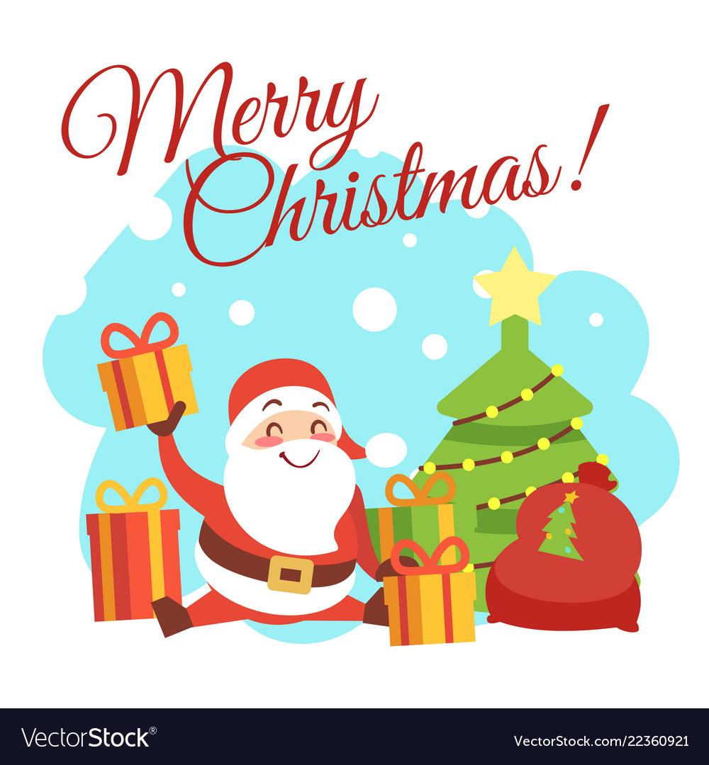 Christmas card template with cute cartoon.
