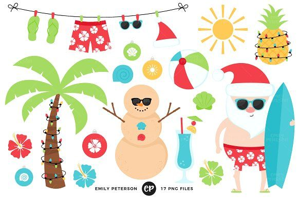 Christmas in July Clipart by Emily Peterson Studio on.