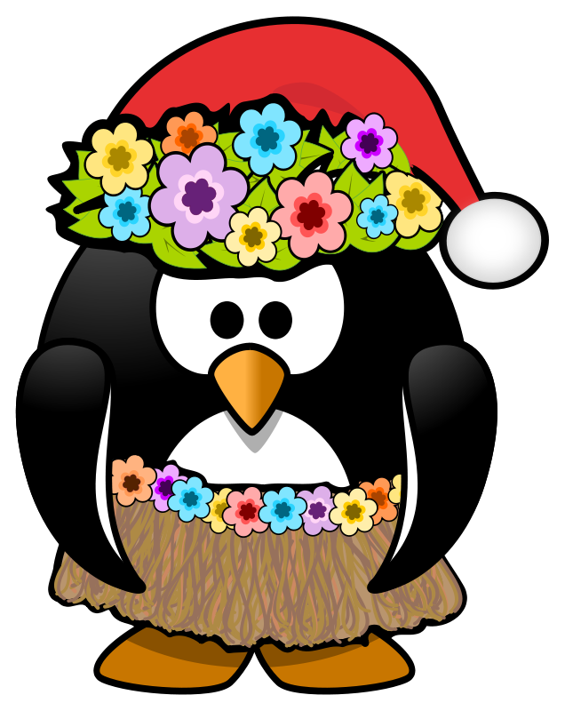 Free Clipart: Christmas in July Penguin.