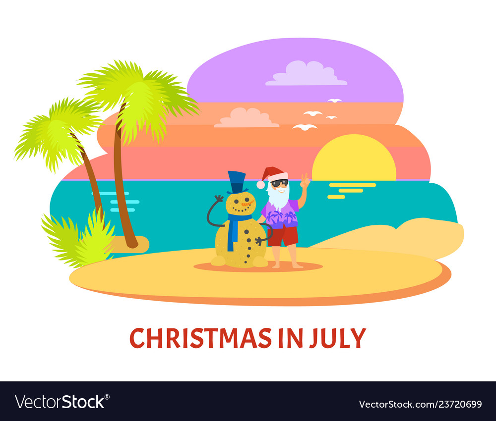 Christmmas in july on beach with sunset.