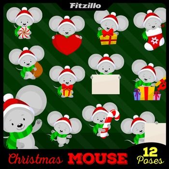 Cute Christmas Mouse Clipart Set.