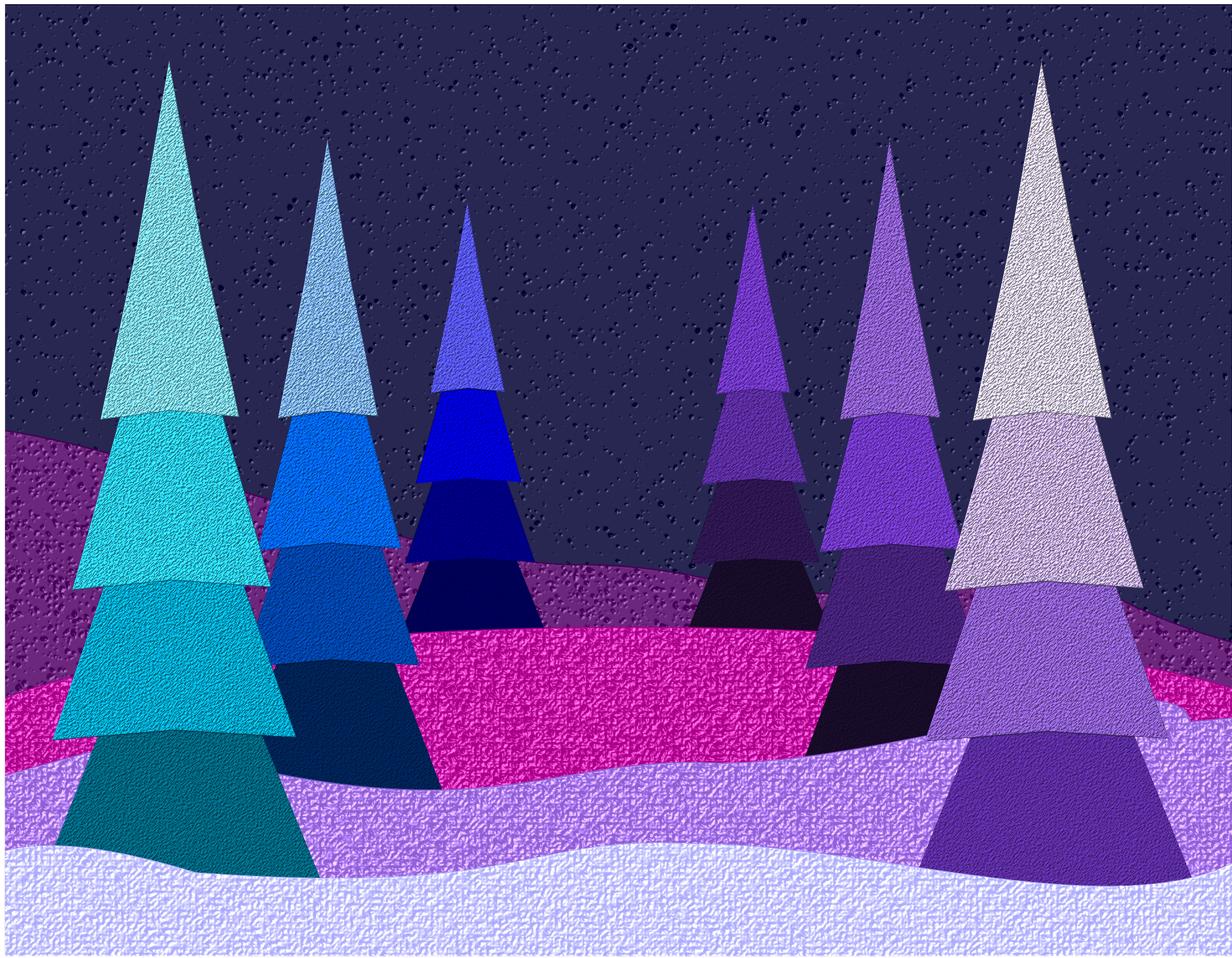 Blue and Purple Christmas Scene vector clipart image.