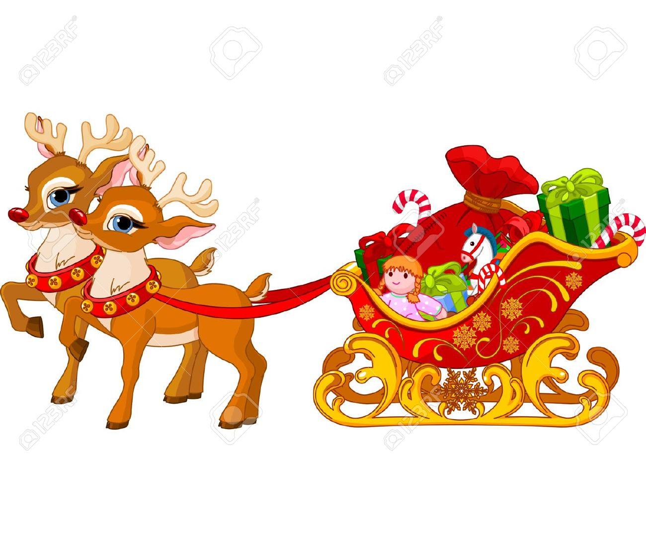 Free Rudolph Sleigh Clipart Christmas.