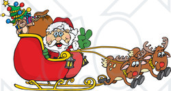 Santa and sleigh clipart free.