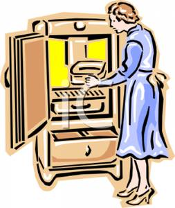 A Housewife Cleaning a Refrigerator.