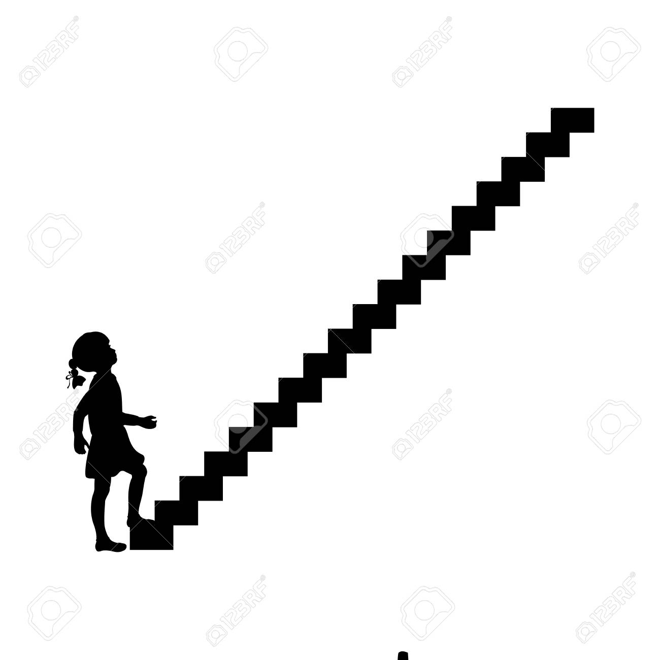 Silhouette girl up climbing stair.