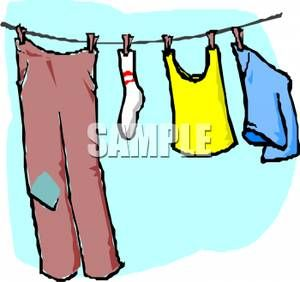 Clothing Hanging on a Clothesline.