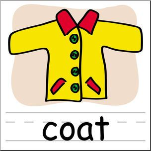 Clip Art: Basic Words: Coat Color Labeled.
