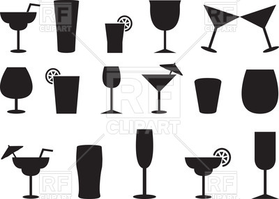 Silhouettes of juice and cocktail glasses Vector Image.