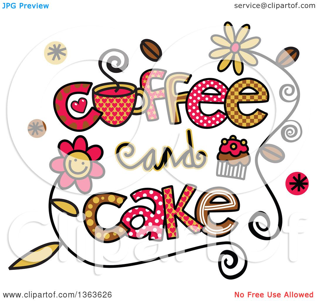Clipart of Colorful Sketched Coffee and Cake Word Art.