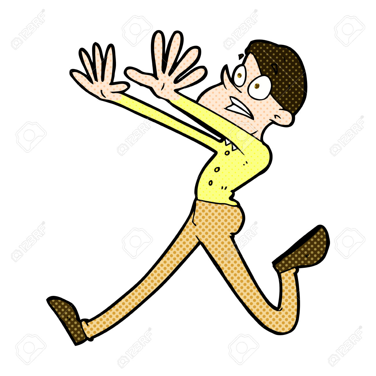 Retro Comic Book Style Cartoon Man Running Away Royalty Free.