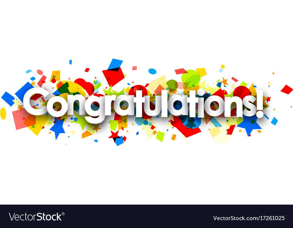 Congratulations banner with colorful confetti.