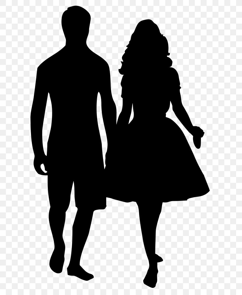 Silhouette Holding Hands Drawing Clip Art, PNG, 652x1000px.