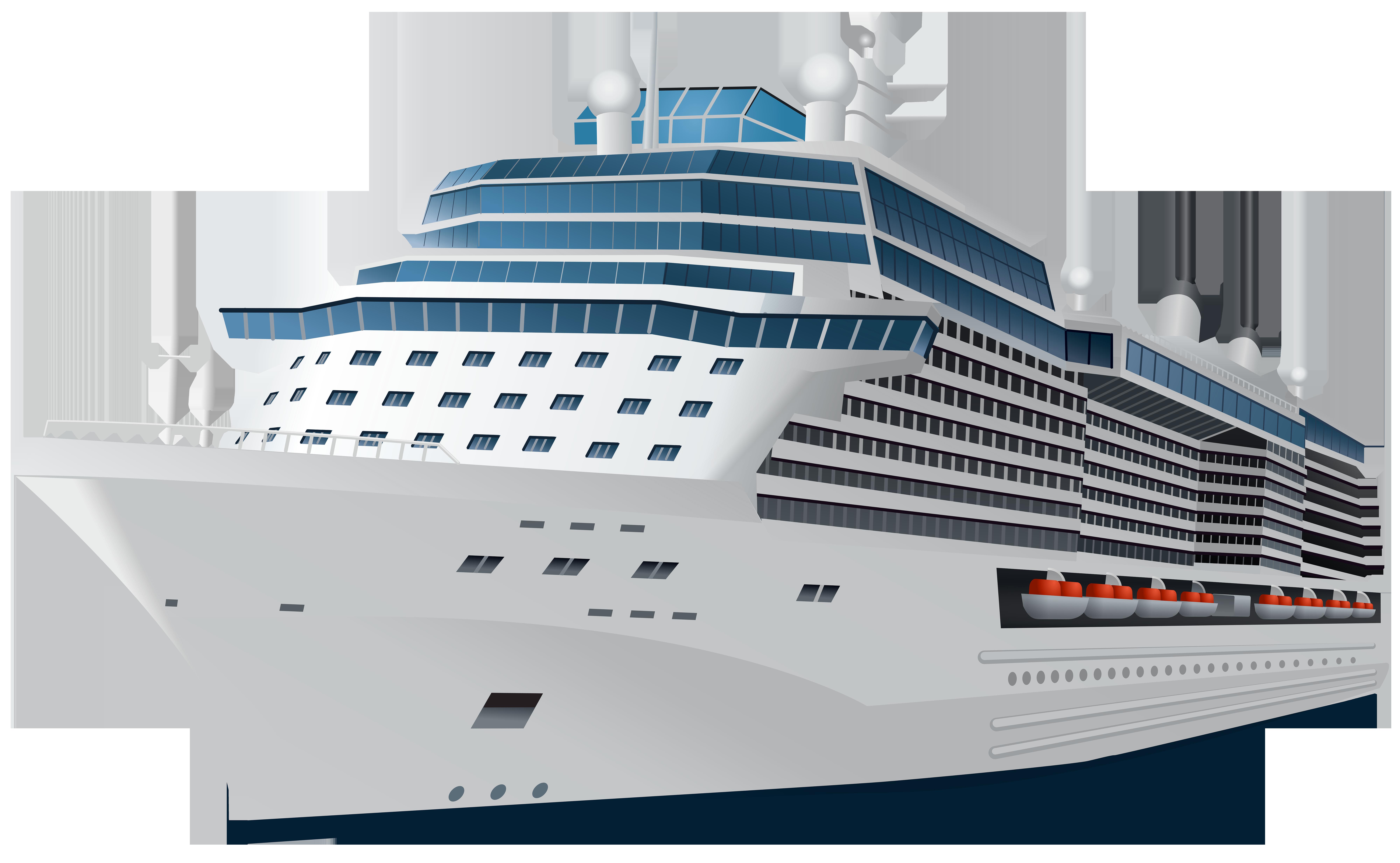 Cruise Ship Transparent PNG Clip Art Image.