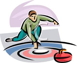 Man Sliding A Curling Stone.