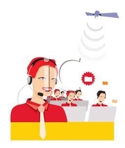 Several Customer Service Representatives Talking on Headsets.