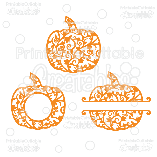 Whole Split Monogram Frame Flourish Pumpkins Free SVG Cut Files.