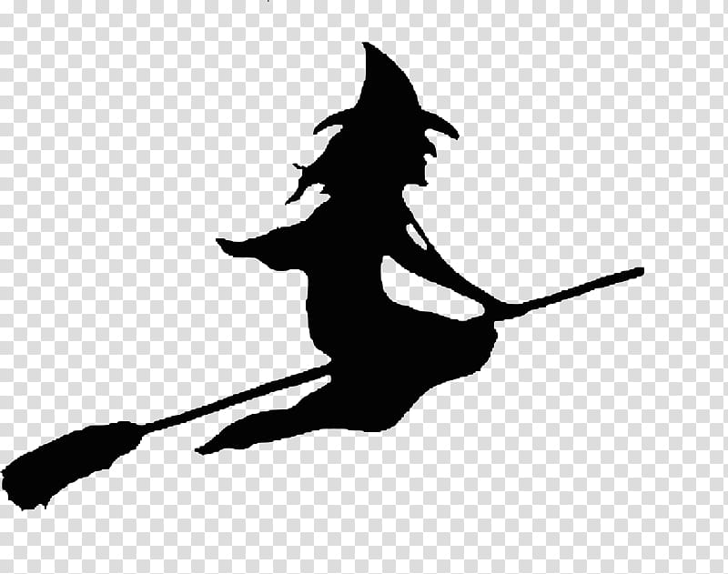 Free Halloween shop Brushes Plus Cutouts, witch riding broom.