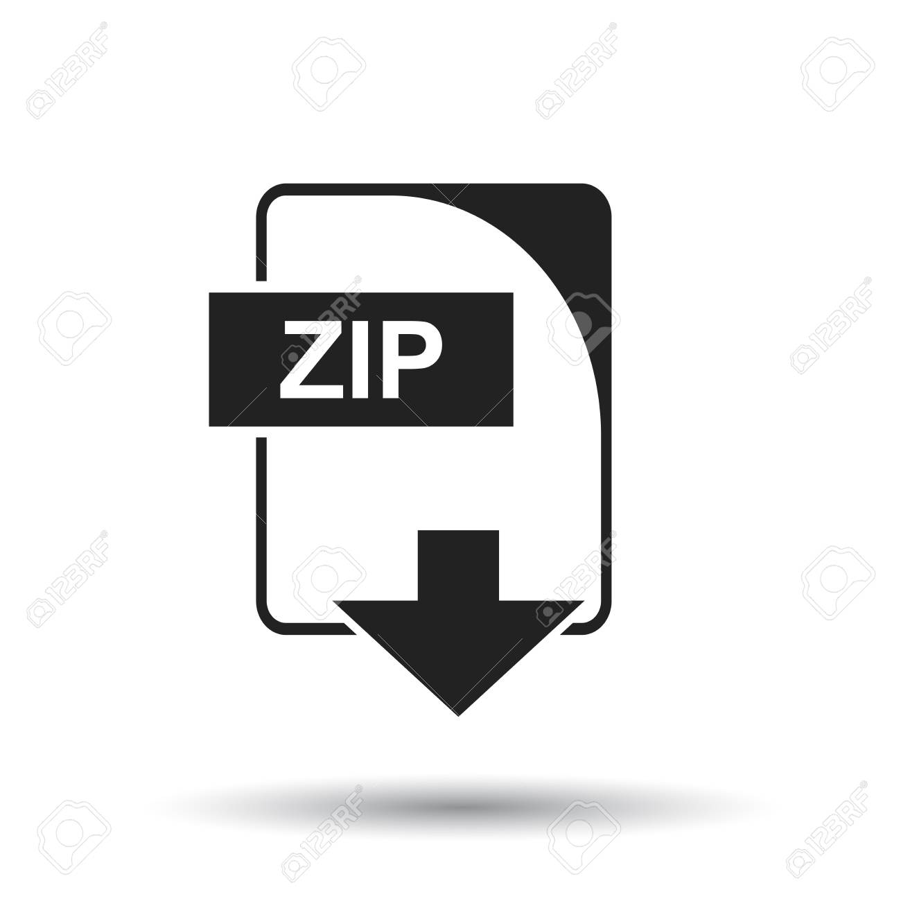 ZIP icon. Flat vector illustration. ZIP download sign symbol...