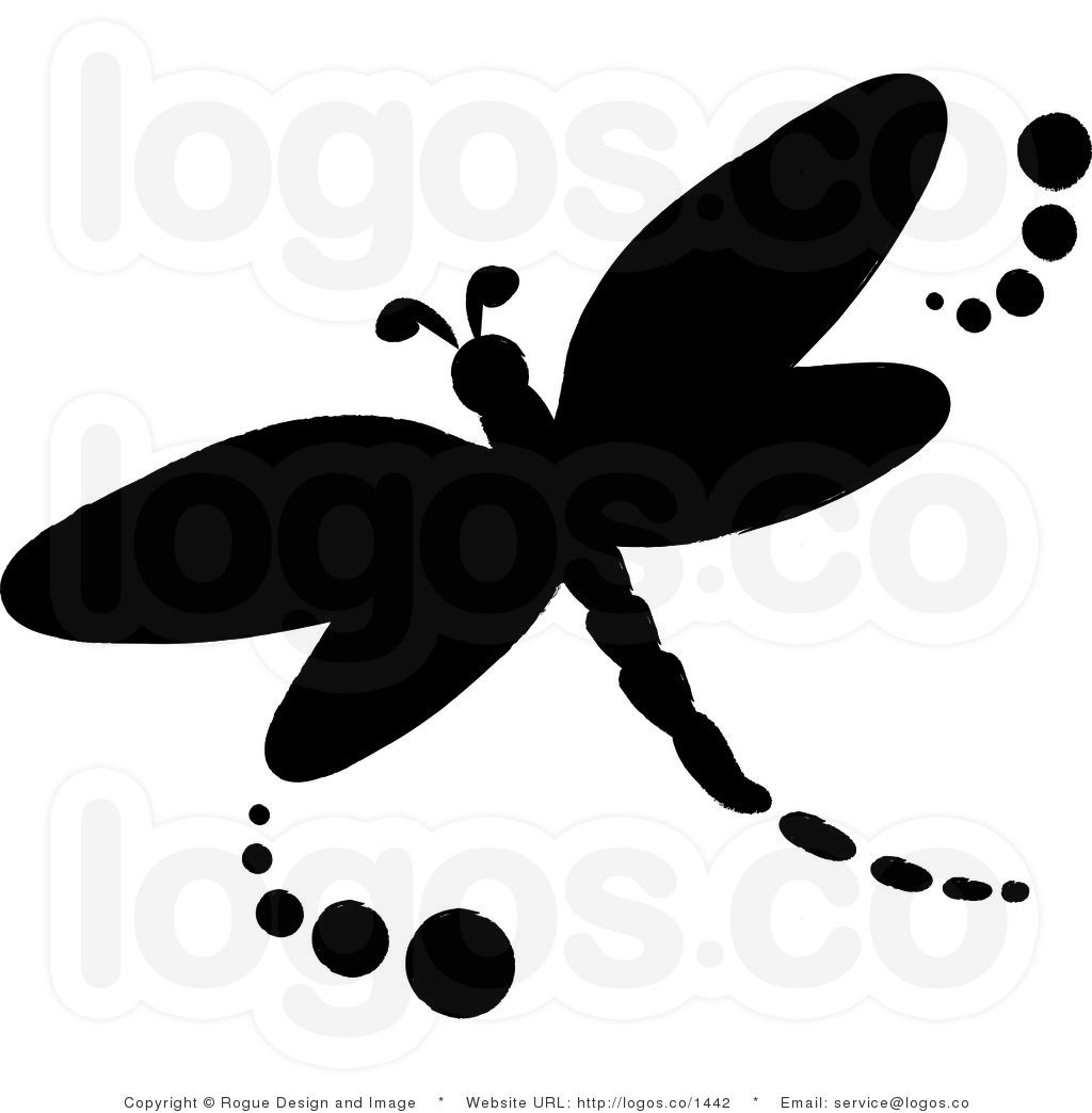 Royalty Free Vector Logo Icon of a Black Dragonfly.