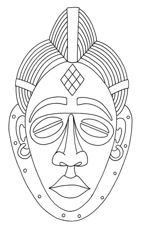 African Mask Drawings.