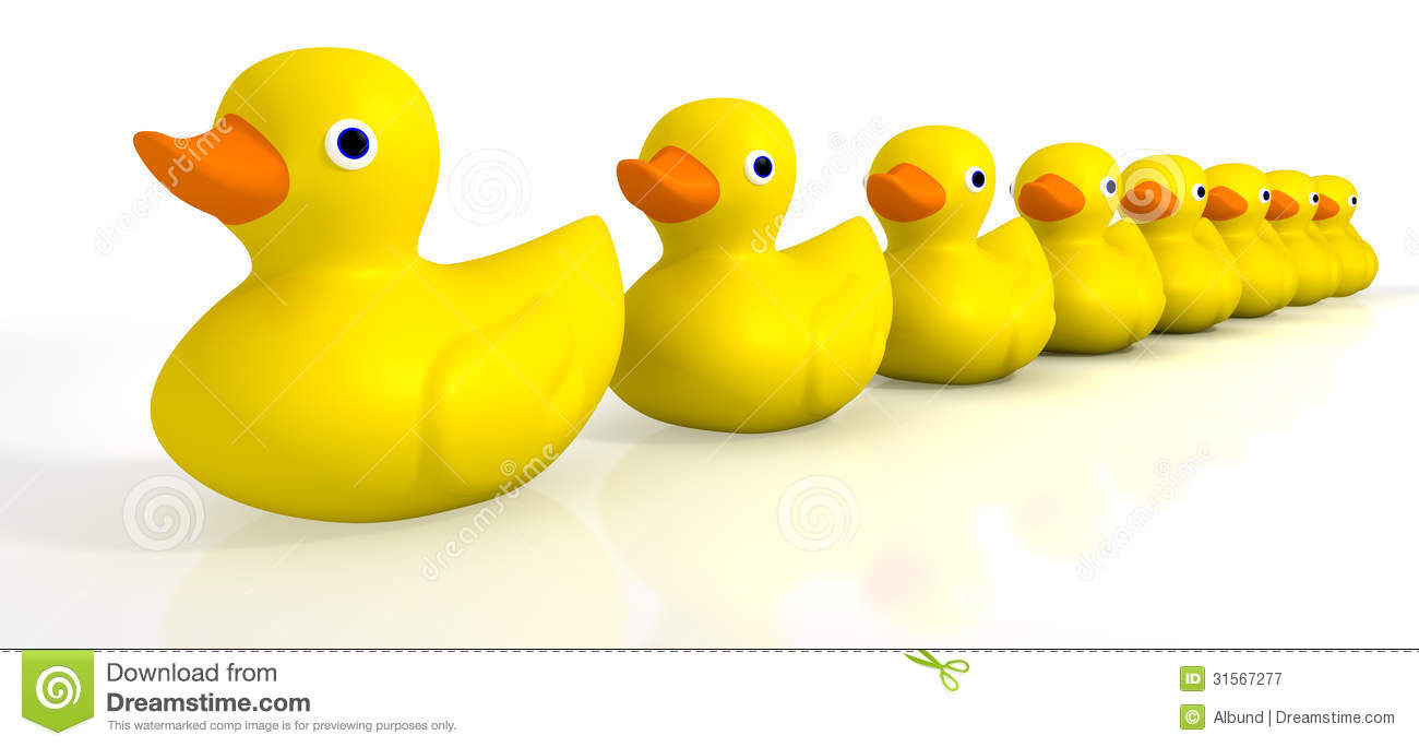 Your Toy Rubber Ducks In A Row Stock Illustration.