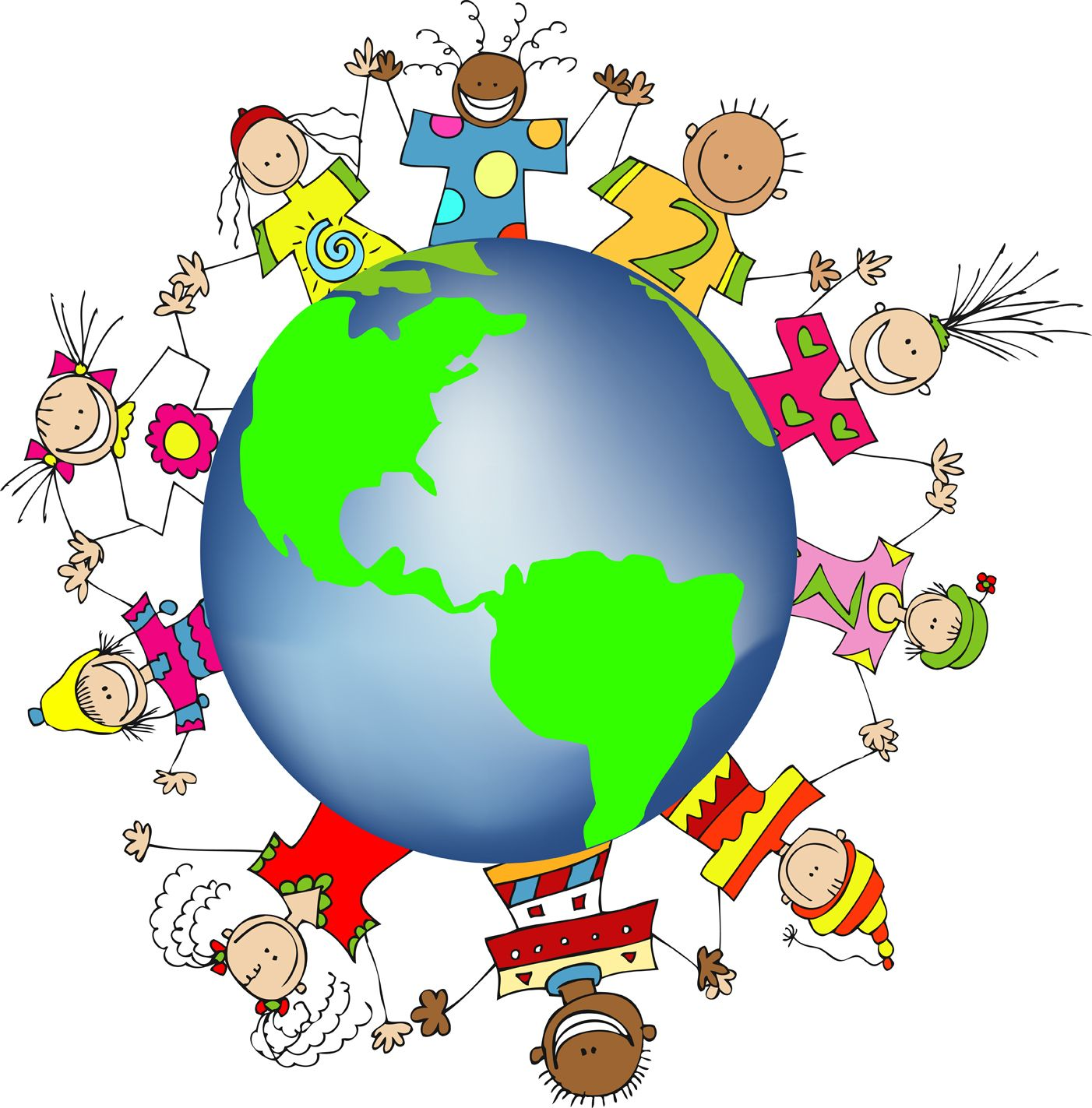 Kids World Hands Friends Networks Globe Illustration Small.