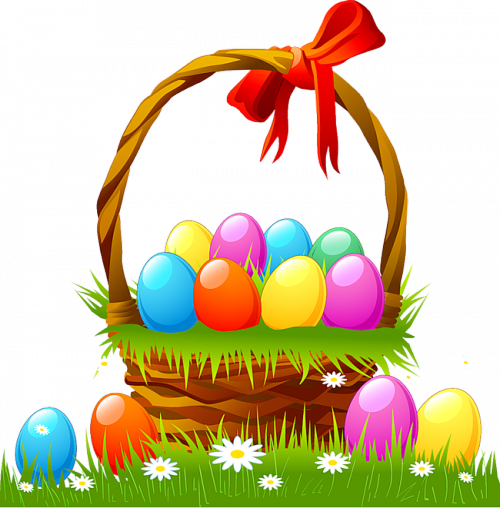 Easter Basket with Eggs and Grass.