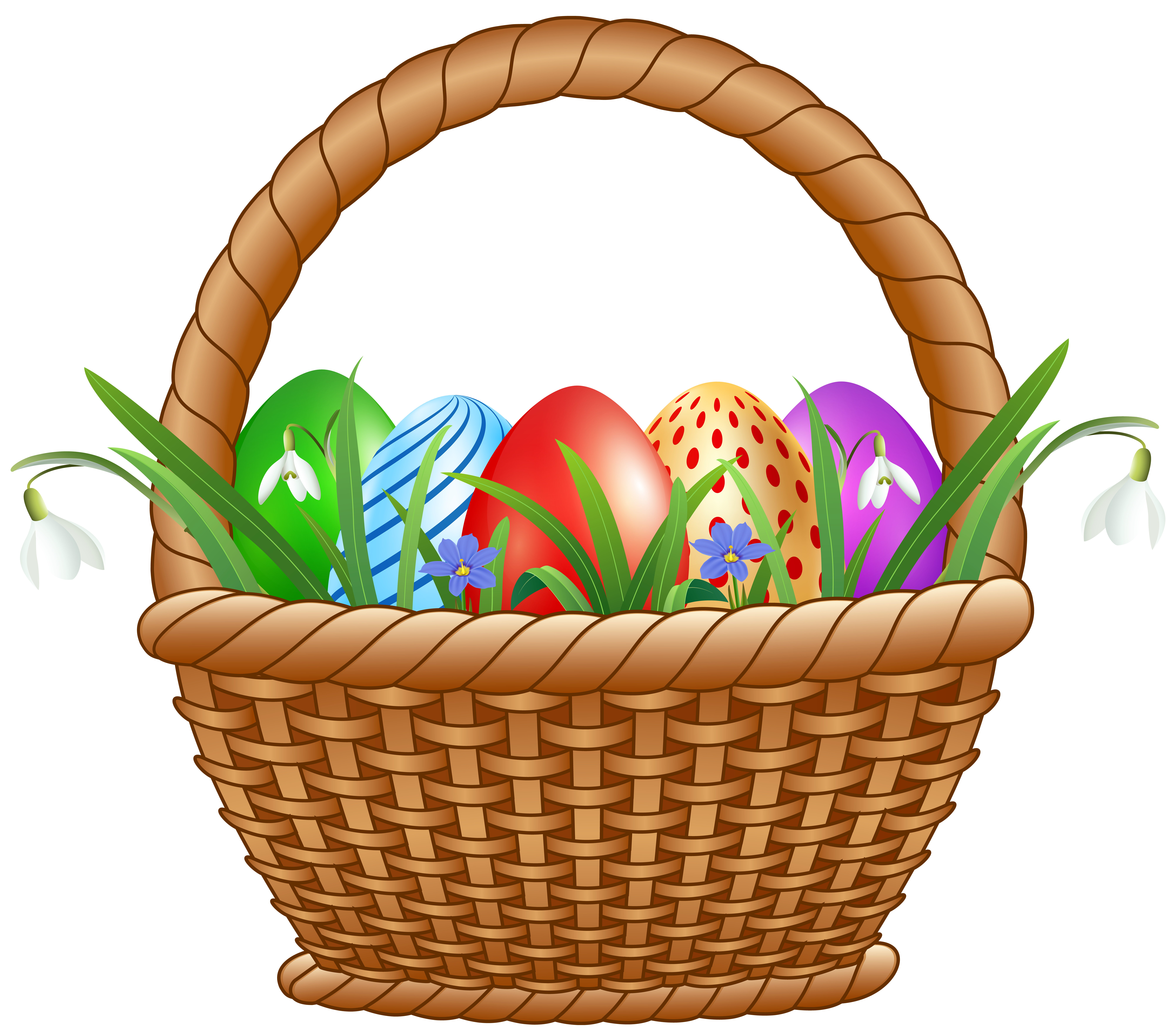 Easter Basket with Eggs Transparent Image.
