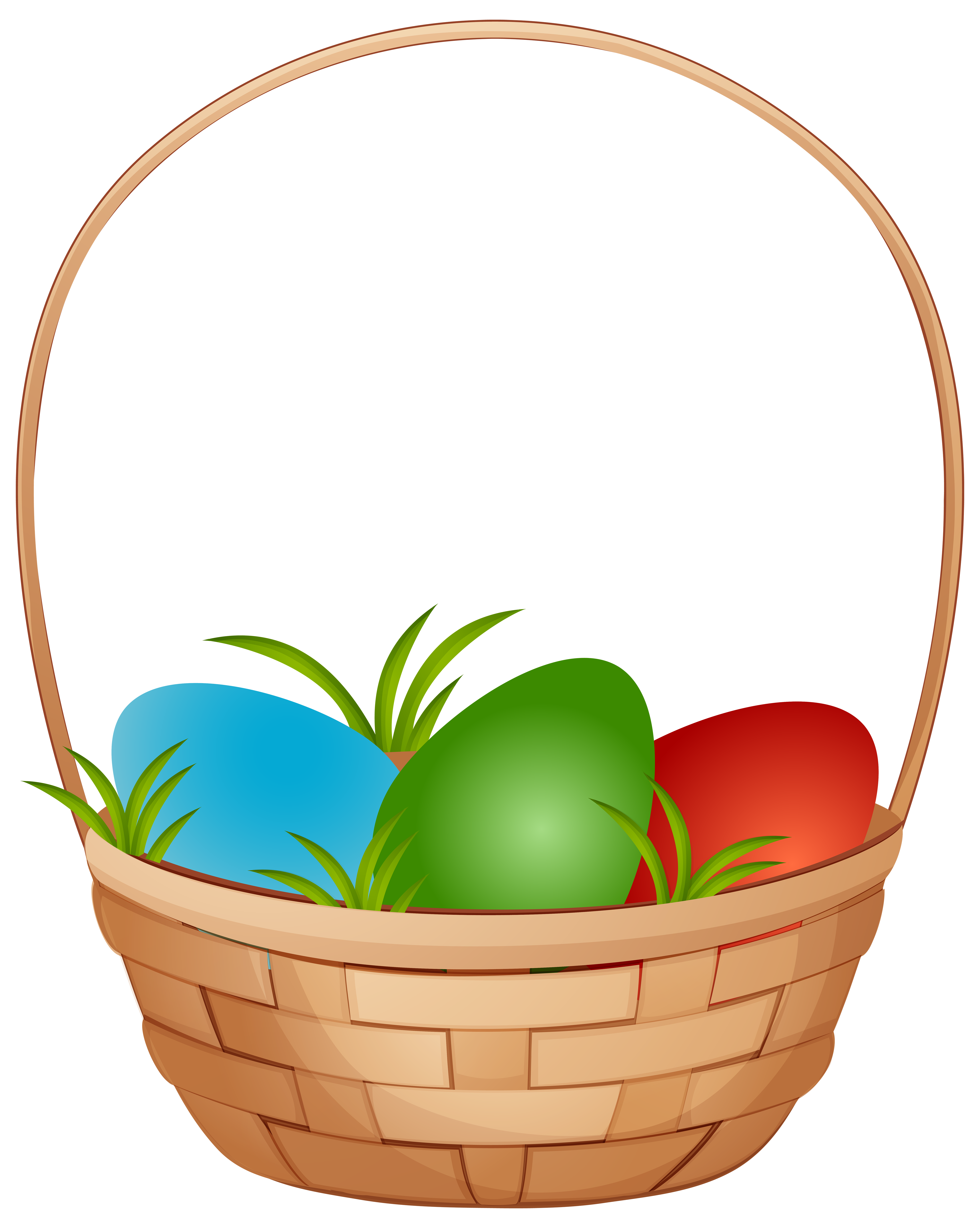 Easter Basket with Eggs PNG Clip Art Image.