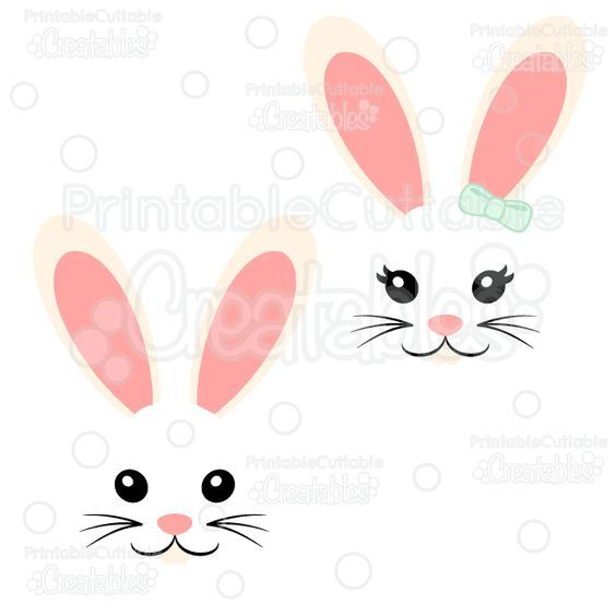 Girl & Boy Easter Bunny Face Free SVG Cut File.